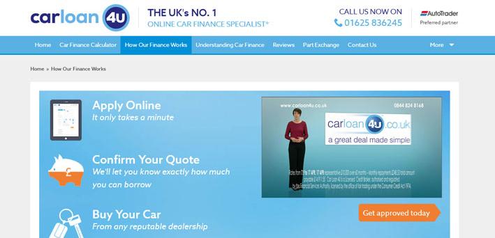 High impact TV advert on ITV for UKs leading car finance broker